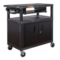 Luxor EA34CLE-B 3 Shelf Black 35 1/4 inch x 18 inch x 34 1/2 inch Presentation Cart with Locking Cabinet and Keyboard Shelf