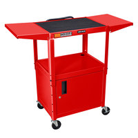 Luxor AVJ42CDL-RD Red Computer Cart with Locking Cabinet