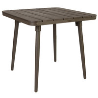 BFM Seating PH4L3636BR-BZ Bayview 36 inch Square Table with Bronze Powder Coat Aluminum Frame and Brown Synthetic Teak Top