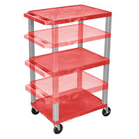Luxor WT1642RE-N Red Tuffy 3 Shelf Adjustable Height A/V Cart with Nickel Legs - 18 inch x 24 inch
