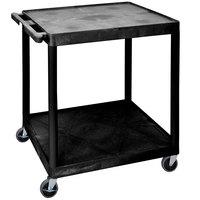 Luxor HE38-B Black 2 Shelf Utility Cart - 32 inch x 24 inch x 34 inch