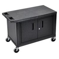 Luxor EC25C-B Black 2 Shelf Utility Cart with Cabinet - 32 inch x 18 inch x 24 inch