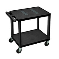 Luxor LE26-B Black 2 Shelf A/V Cart with Electrical Assembly - 24 inch x 18 inch x 25 1/4 inch
