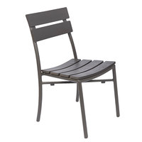 BFM Seating PH302CBR-BZ Bayview Bronze Stackable Aluminum Side Chair with Brown Synthetic Teak Back and Seat