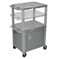 Luxor WT2642GYC4E-N Gray Tuffy 2 Shelf Adjustable Height A/V Cart with Nickel Legs and Locking Cabinet - 18 inch x 24 inch