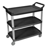 Luxor SC13-B Black 3 Shelf Plastic Utility Cart / Bussing Cart - 40 1/2 inch x 19 3/4 inch x 37 1/4 inch