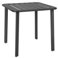BFM Seating DVV3636BLU Vista 36 inch x 36 inch Black Aluminum Outdoor / Indoor Standard Height Table with Umbrella Hole