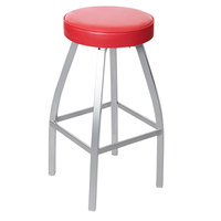 BFM Seating 2520BRDV-SM Kyle Silver Mist Metal Barstool with Red Vinyl Swivel Seat