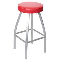 BFM Seating 2520BRDV-SM Kyle Silver Mist Metal Barstool with Red Vinyl Swivel Seat