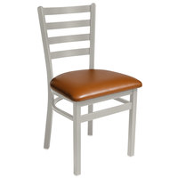 BFM Seating 2160CLBV-SM Lima Silver Mist Steel Side Chair with 2 inch Light Brown Vinyl Seat