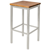 BFM Seating 2510BASH-SM Trent Silver Mist Steel Bar Stool with Autumn Ash Wooden Seat