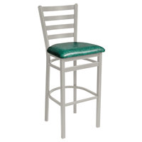 BFM Seating 2160BGNV-SM Lima Silver Mist Steel Bar Height Chair with 2 inch Green Vinyl Seat