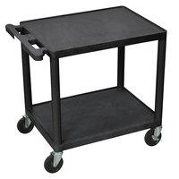 Luxor LP26-B 2 Shelf A/V Cart - 24 inch x 18 inch x 25 1/4 inch