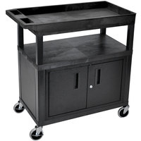 Luxor EC122CE-B Black One Cabinet, One Tub, and One Flat Shelf Utility Cart with Electrical Assembly - 35 1/4 inch x 18 inch x 34 inch