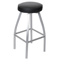 BFM Seating 2520BBLV-SM Kyle Silver Mist Metal Barstool with Black Vinyl Swivel Seat