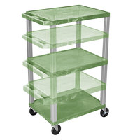 Luxor WT1642GE-N Green Tuffy 3 Shelf Adjustable Height A/V Cart with Nickel Legs - 18 inch x 24 inch