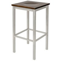 BFM Seating 2510BWAW-SM Trent Silver Mist Steel Bar Stool with Walnut Wooden Seat