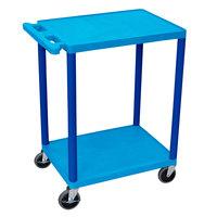 Luxor HE32-BU Blue 2 Shelf Utility Cart