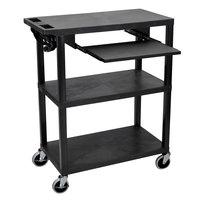 Luxor EA42LE-B 3 Shelf Black 35 1/4 inch x 18 inch x 42 1/2 inch Presentation Cart with Electrical Assembly and Keyboard Shelf