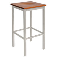BFM Seating 2510BCHW-SM Trent Silver Mist Steel Bar Stool with Cherry Wooden Seat
