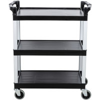 Continental 5810BK 16 inch x 31 inch x 36 inch Black Three Shelf Utility Cart