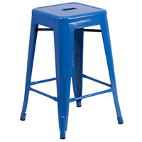 Flash Furniture CH-31320-24-BL-GG 24 inch Blue Stackable Metal Indoor / Outdoor Backless Counter Height Stool with Square Drain Seat