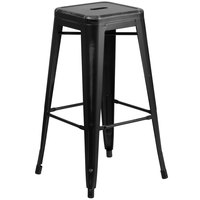 Flash Furniture ET-BT3503-30-BK-GG 30 inch Distressed Black Stackable Metal Indoor / Outdoor Backless Bar Height Stool with Square Drain Seat