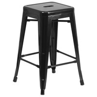 Flash Furniture CH-31320-24-BK-GG 24 inch Black Stackable Metal Indoor / Outdoor Backless Counter Height Stool with Square Drain Seat