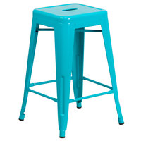 Flash Furniture ET-BT3503-24-CB-GG 24 inch Crystal Teal Blue Stackable Metal Indoor / Outdoor Backless Counter Height Stool with Square Drain Seat
