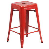Flash Furniture CH-31320-24-RED-GG 24 inch Red Stackable Metal Indoor / Outdoor Backless Counter Height Stool with Square Drain Seat