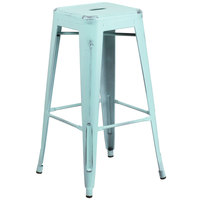 Flash Furniture ET-BT3503-30-DB-GG 30 inch Distressed Green-Blue Stackable Metal Indoor / Outdoor Backless Bar Height Stool with Square Drain Seat