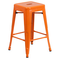 Flash Furniture CH-31320-24-OR-GG 24 inch Orange Stackable Metal Indoor / Outdoor Backless Counter Height Stool with Square Drain Seat