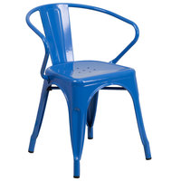Flash Furniture CH-31270-BL-GG Blue Stackable Galvanized Steel Chair with Arms, Vertical Slat Back, and Drain Hole Seat