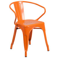 Flash Furniture CH-31270-OR-GG Orange Stackable Galvanized Steel Chair with Arms, Vertical Slat Back, and Drain Hole Seat