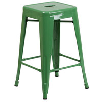 Flash Furniture CH-31320-24-GN-GG 24 inch Green Stackable Metal Indoor / Outdoor Backless Counter Height Stool with Square Drain Seat