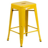 Flash Furniture CH-31320-24-YL-GG 24 inch Yellow Stackable Metal Indoor / Outdoor Backless Counter Height Stool with Square Drain Seat