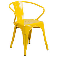 Flash Furniture CH-31270-YL-GG Yellow Stackable Galvanized Steel Chair with Arms, Vertical Slat Back, and Drain Hole Seat