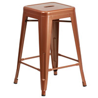 Flash Furniture ET-BT3503-24-POC-GG 24 inch Copper Stackable Metal Indoor / Outdoor Backless Counter Height Stool with Square Drain Seat