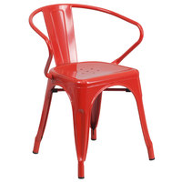 Flash Furniture CH-31270-RED-GG Red Stackable Galvanized Steel Chair with Arms, Vertical Slat Back, and Drain Hole Seat
