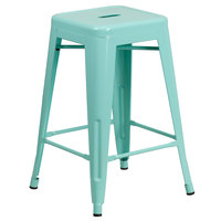 Flash Furniture ET-BT3503-24-MINT-GG 24 inch Mint Green Stackable Metal Indoor / Outdoor Backless Counter Height Stool with Square Drain Seat