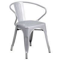 Flash Furniture CH-31270-SIL-GG Silver Stackable Galvanized Steel Chair with Arms, Vertical Slat Back, and Drain Hole Seat