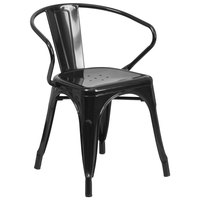Flash Furniture CH-31270-BK-GG Black Stackable Galvanized Steel Chair with Arms, Vertical Slat Back, and Drain Hole Seat