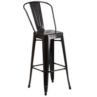 Flash Furniture CH-31320-30GB-BQ-GG 30 inch Black-Antique Gold Metal Indoor / Outdoor Bar Height Stool with Vertical Slat Back and Drain Hole Seat
