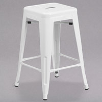 Flash Furniture CH-31320-24-WH-GG 24 inch White Stackable Metal Indoor / Outdoor Backless Counter Height Stool with Square Drain Seat