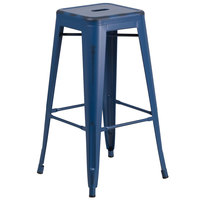 Flash Furniture ET-BT3503-30-AB-GG 30 inch Distressed Antique Blue Stackable Metal Indoor / Outdoor Backless Bar Height Stool with Square Drain Seat