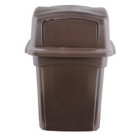 Continental 6452BN Colossus 45 Gallon Brown Square Trash Can and Two-Door Lid
