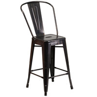 Flash Furniture CH-31320-24GB-BQ-GG 24 inch Black-Antique Gold Metal Indoor / Outdoor Counter Height Stool with Vertical Slat Back and Drain Hole Seat