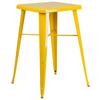 Flash Furniture CH-31330-YL-GG 23 3/4 inch Yellow Metal Indoor / Outdoor Square Bar Height Table