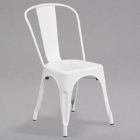 Flash Furniture CH-31230-WH-GG White Stackable Galvanized Steel Chair with Vertical Slat Back and Drain Hole Seat