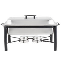 Choice 8 Qt. Wrought Iron Pillar Chafer Kit with Stainless Steel Cover and Plastic Handle